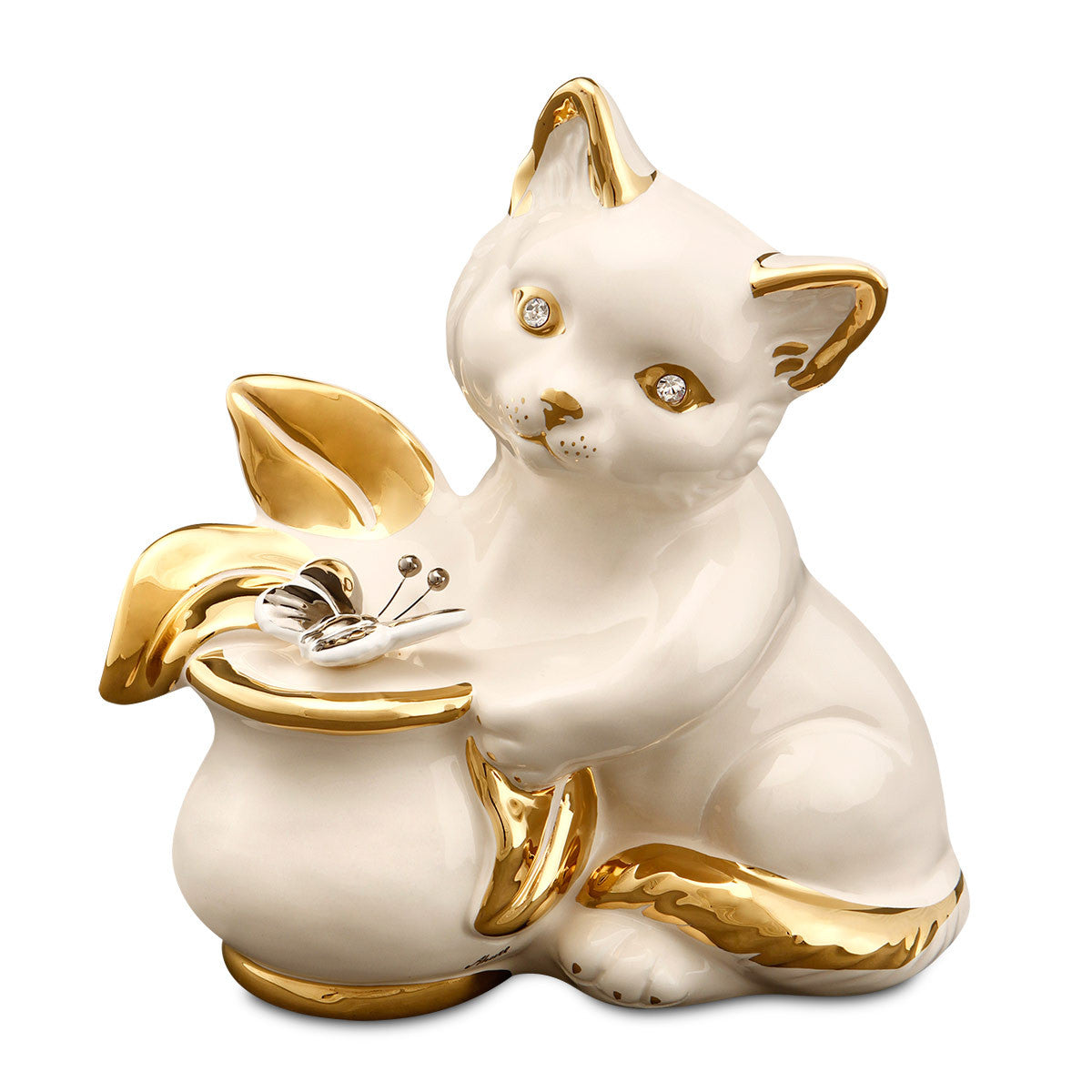 cat with butterfly ceramic porcelain special gift handmade in italy