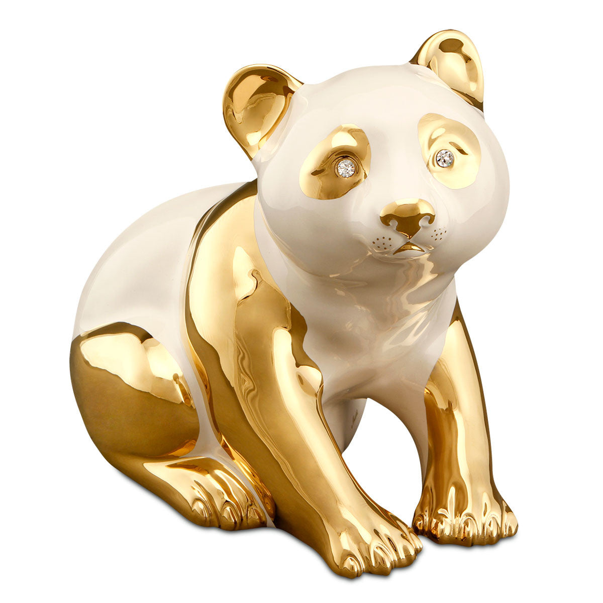 bear panda ceramic porcelain 24kt gold handmade in italy