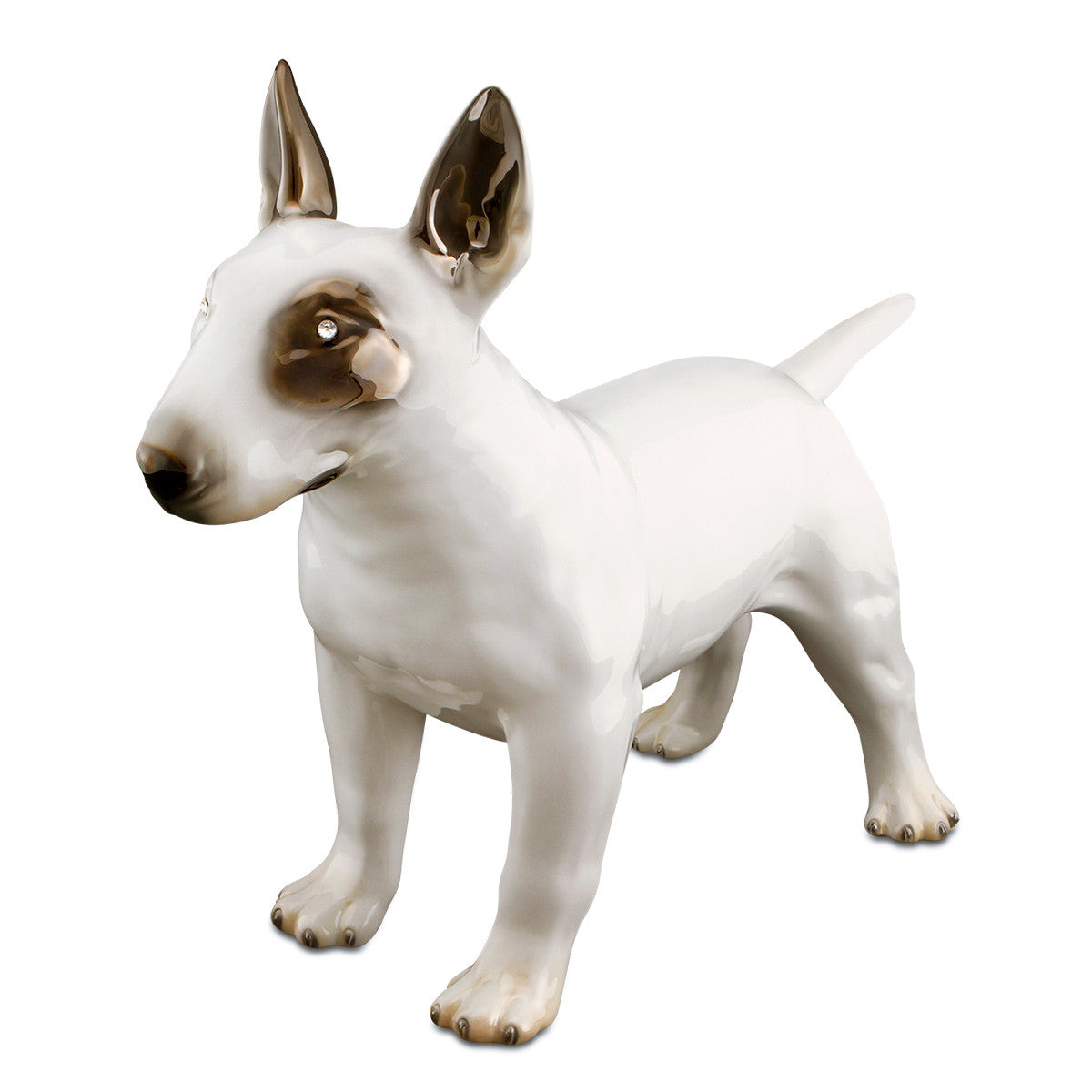 "Hand-painted ceramic porcelain bull terrier in white glaze and finished with grey color and pure luster to give a particular ""shining effect"", enriched with precious Swarovski crystals."
