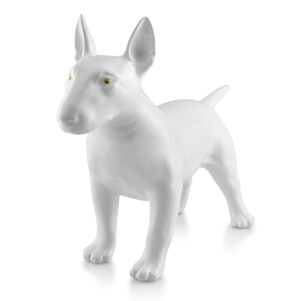 bull terrier ceramic porcelain total white glaze enriched with gold metal eyes.