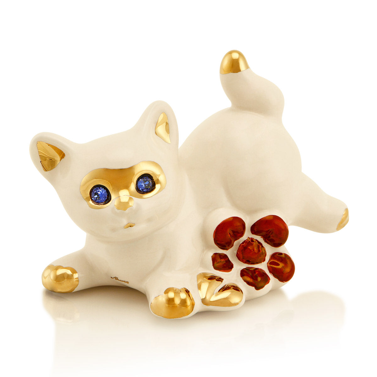 Ceramic little cat with flowers