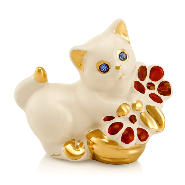 Ceramic little Kitten with flowers bowl