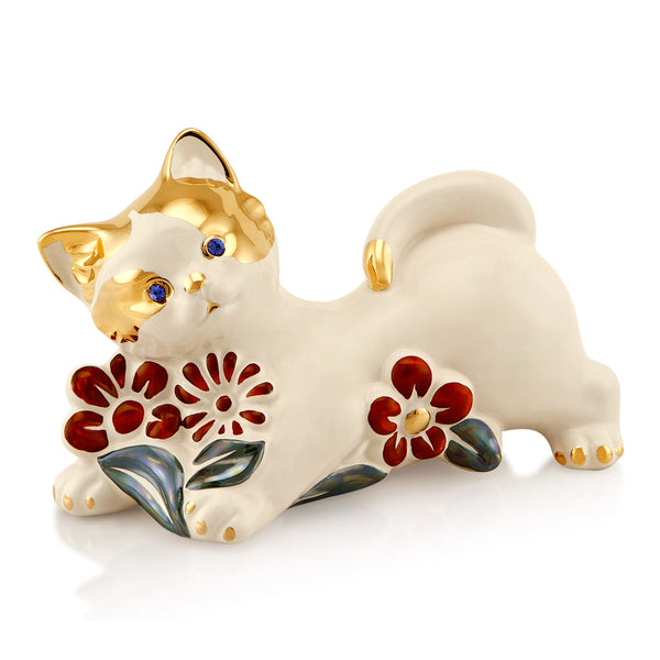 Ceramic cat with flowers