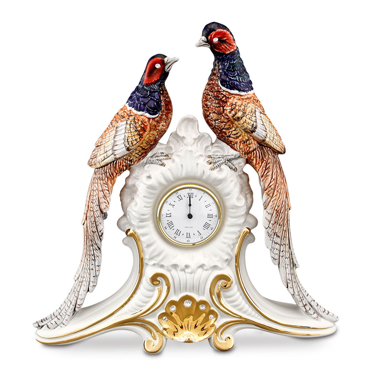 ceramic porcelain pheasants clock finished in pure gold and colors with Swarovski handmade in Italy
