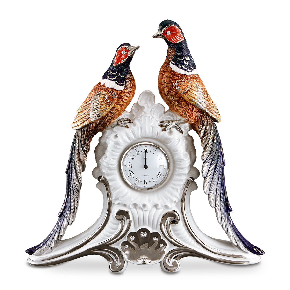 ceramic porcelain pheasants clock finished in platinum and colors with Swarovski handmade in Italy