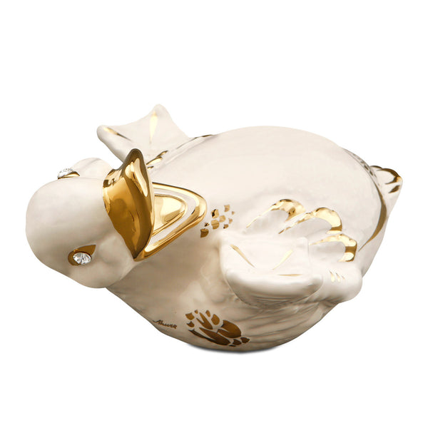 Jolly duck ceramic porcelain gift finished in gold