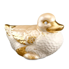 Ceramic little duck finished in pure gold gift collection handmade in Italy