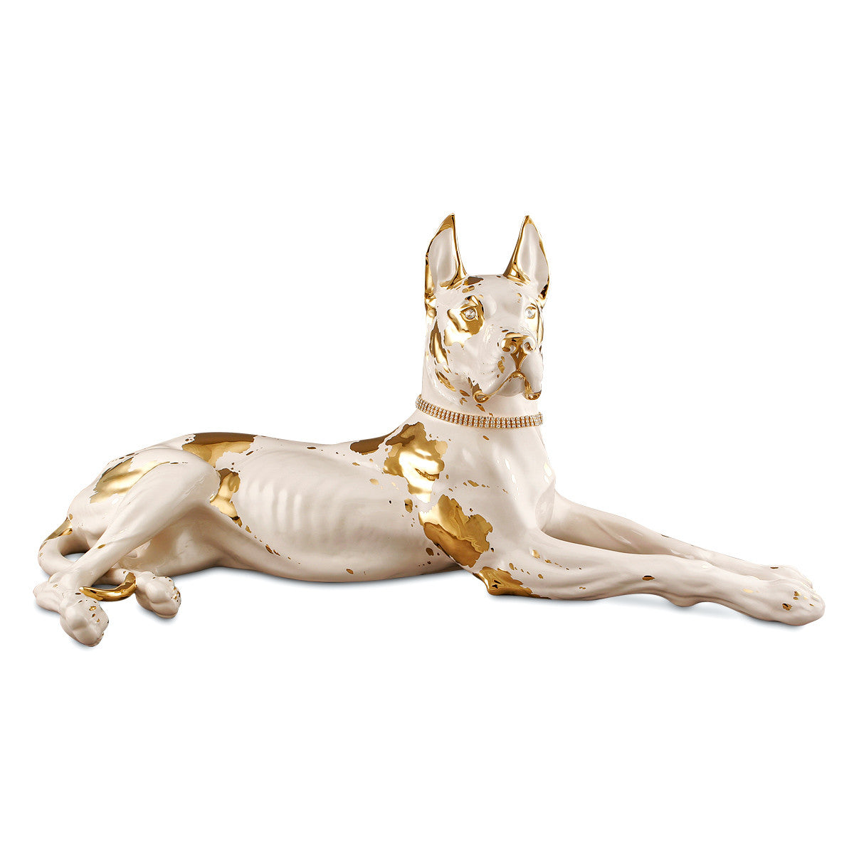 Lying great dane handmade ceramic porcelain animal statue