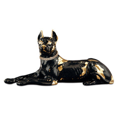 Ceramic little lying great dane black and gold finish