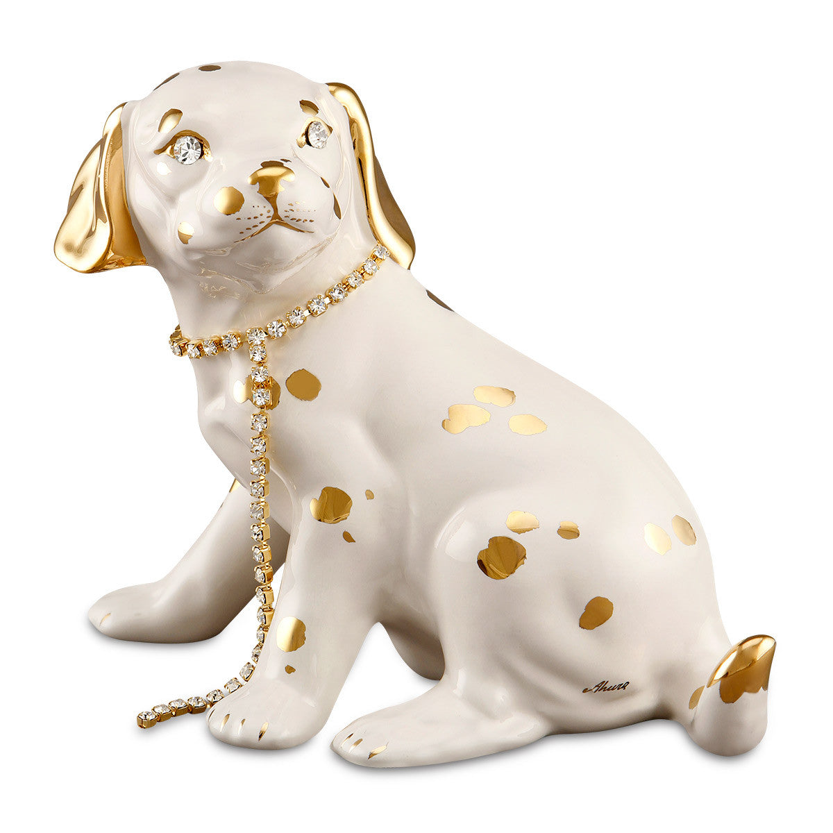 beagle dog ceramic porcelain finished in 24kt gold handmade in italy