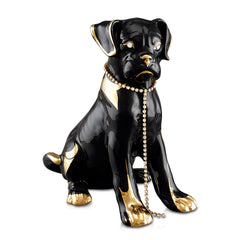 black little boxer ceramic porcelain finished in 24kt gold