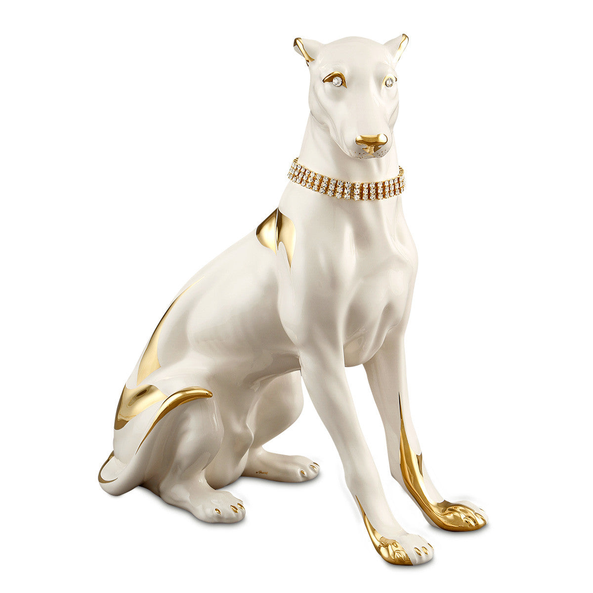 Hand Painted Italian Ceramic greyhound-dog statues-24kt gold-animal gifts-luxury home decor