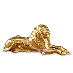 Hand Painted Italian Ceramic lion statue-24Kt gold-Swarovski crystal-animal gifts-luxury home decor