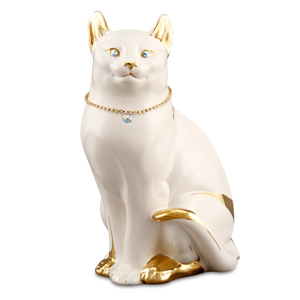sitting tabby cat ceramic porcelain with Swarovski