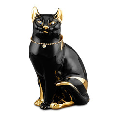 black sitting tabby cat ceramic porcelain with Swarovski