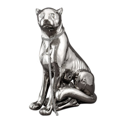 Ceramic large cheetah statue platinum