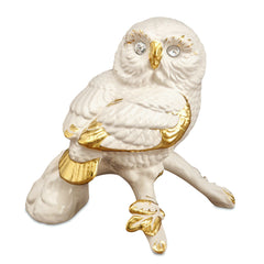 owl ceramic porcelain hand-painted in pure gold