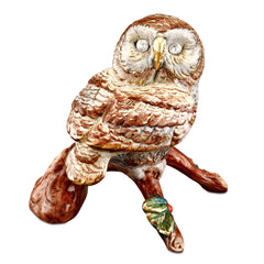 owl ceramic porcelain hand-painted in traditional colos