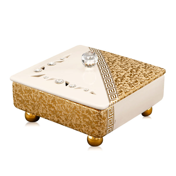 Hand-painted ceramic porcelain openwork box with crystal knob with bright opaque gold texture and Swarovski crystals