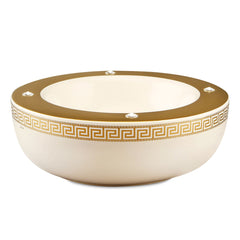 Hand painted ceramic porcelain Mexican bowl in ivory color and 24kt gold with greek