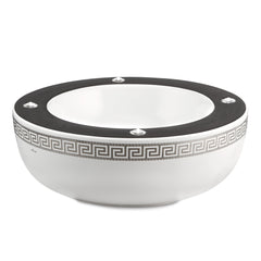 Hand painted ceramic porcelain Mexican bowl in white color and platinum with greek