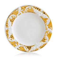 Hand-painted ceramic porcelain round plate baroque border in white glaze and finished in pure gold