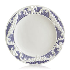 Hand-painted ceramic porcelain round plate baroque border in white glaze and finished with colors