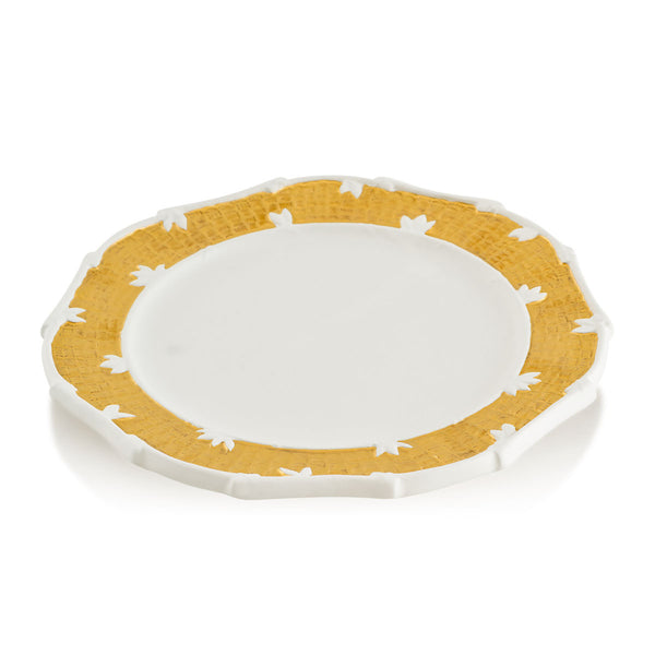 Ceramic hanging plate with gold accents