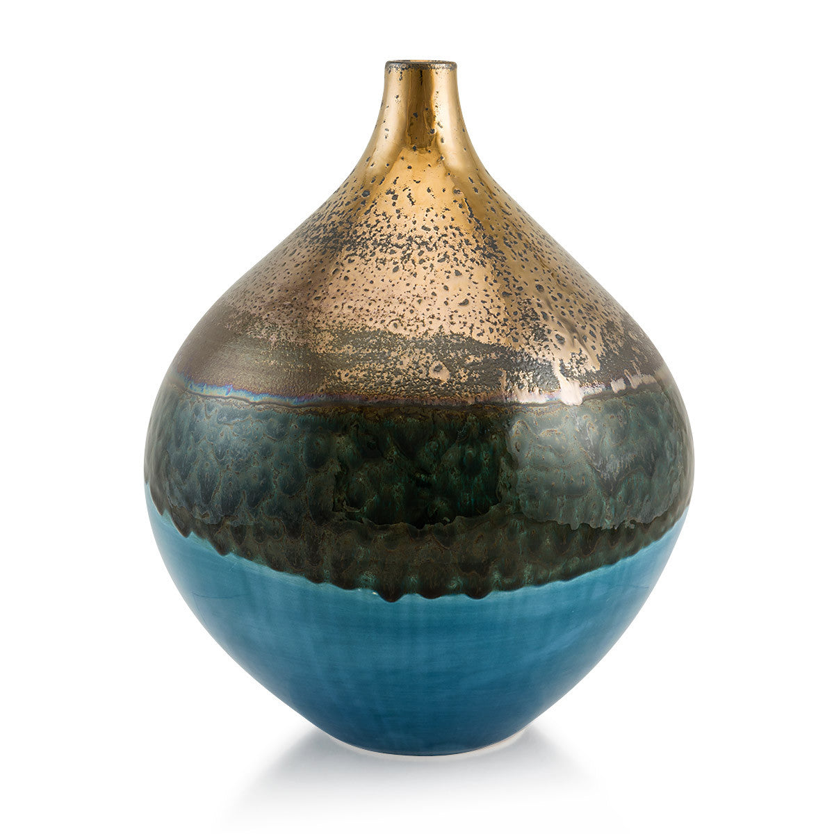 Ceramic teardrop vase | Blue and bronze