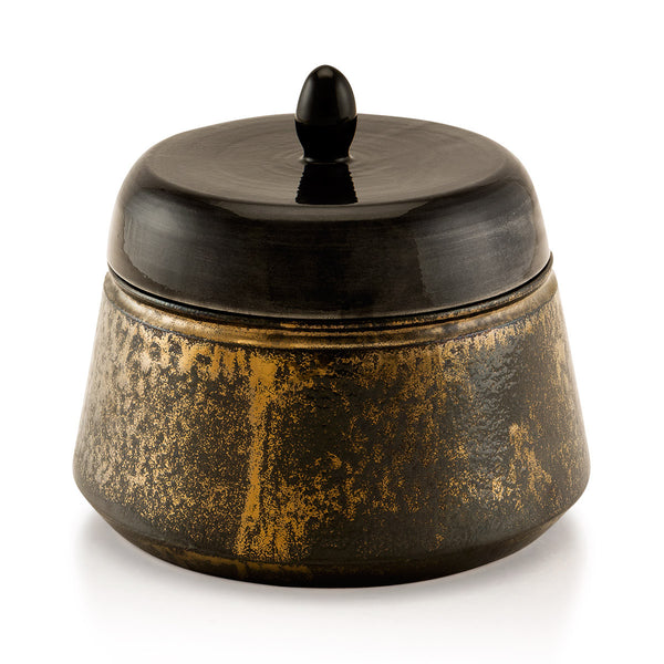 Ceramic box with burnished bronze finish
