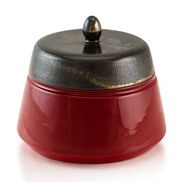 Ceramic box in red color