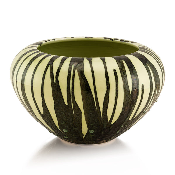 Cenote ceramic vase | Dripping style reactive glaze, celadon color, modern design