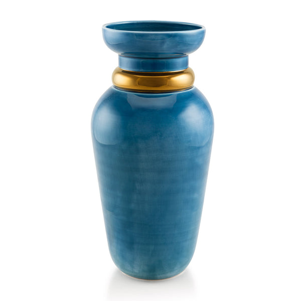 Ceramic vase with double ring in light blue and bronze finish