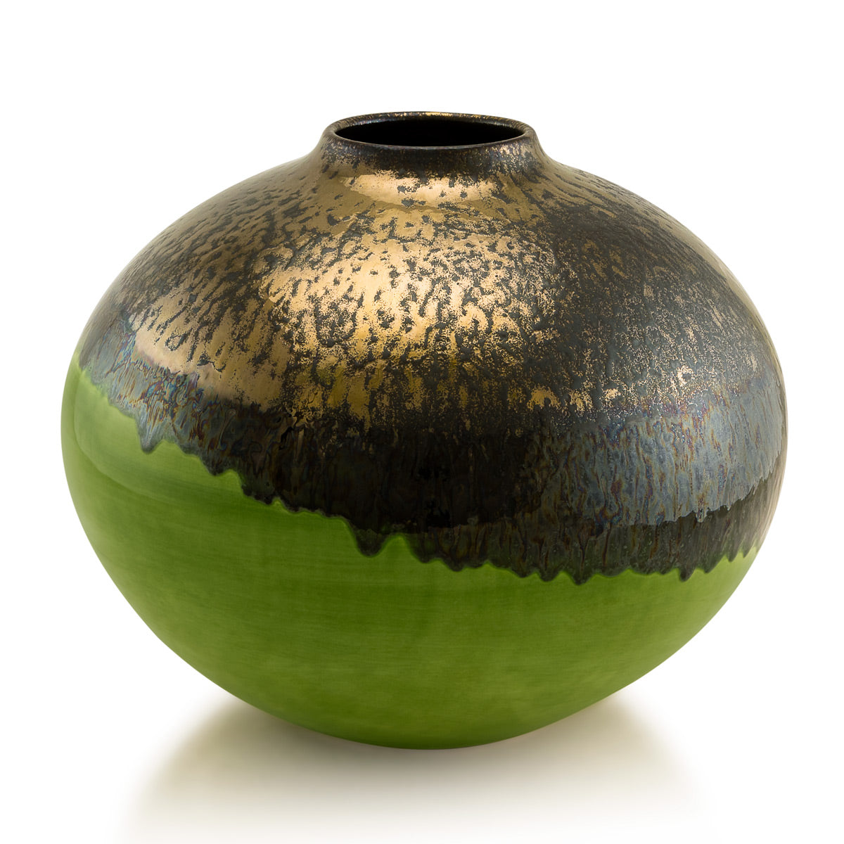round vase-reactive glaze -green color-burnished Bronze-Handcrafted