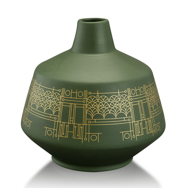 Ceramic modern vase with gold pattern - green