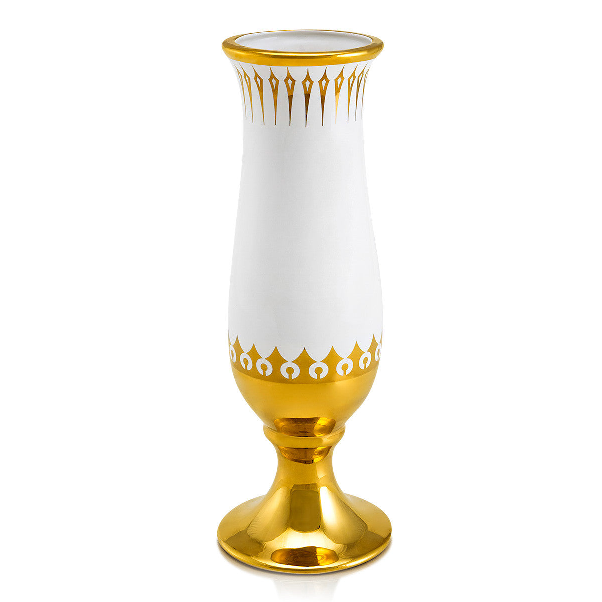 Hand-painted ceramic porcelain chalice long vase in white glaze and finished in pure gold and enriched with modern design
