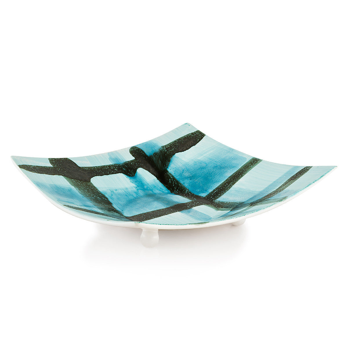 Ceramic plate centerpiece with abstract designs-expressionism-bowl-light blue color-minimalism