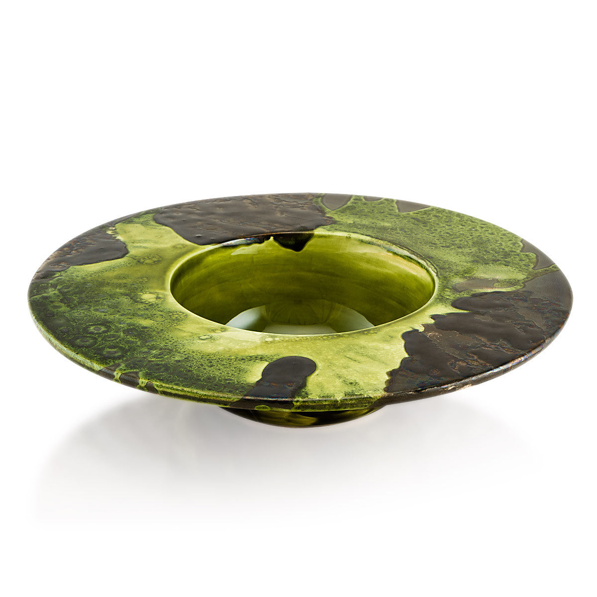 Ceramic modern bowl | Reactive glaze - Ceramics bowls-shades of green-valet tray-modeern design