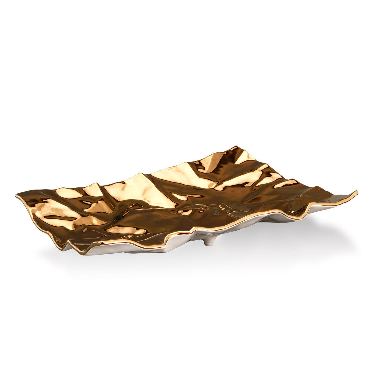 Ceramic rectangular crumpled plate bronze