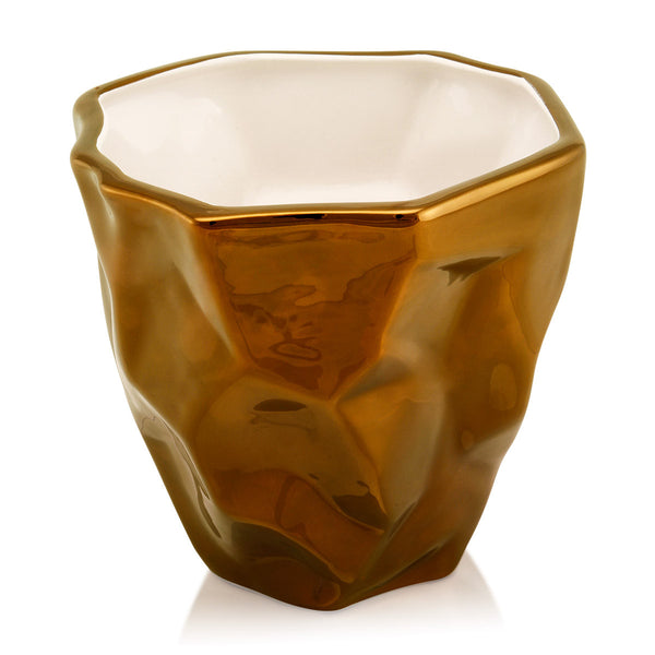 crumpled cachepot hand-painted ceramic porcelain finish bronze