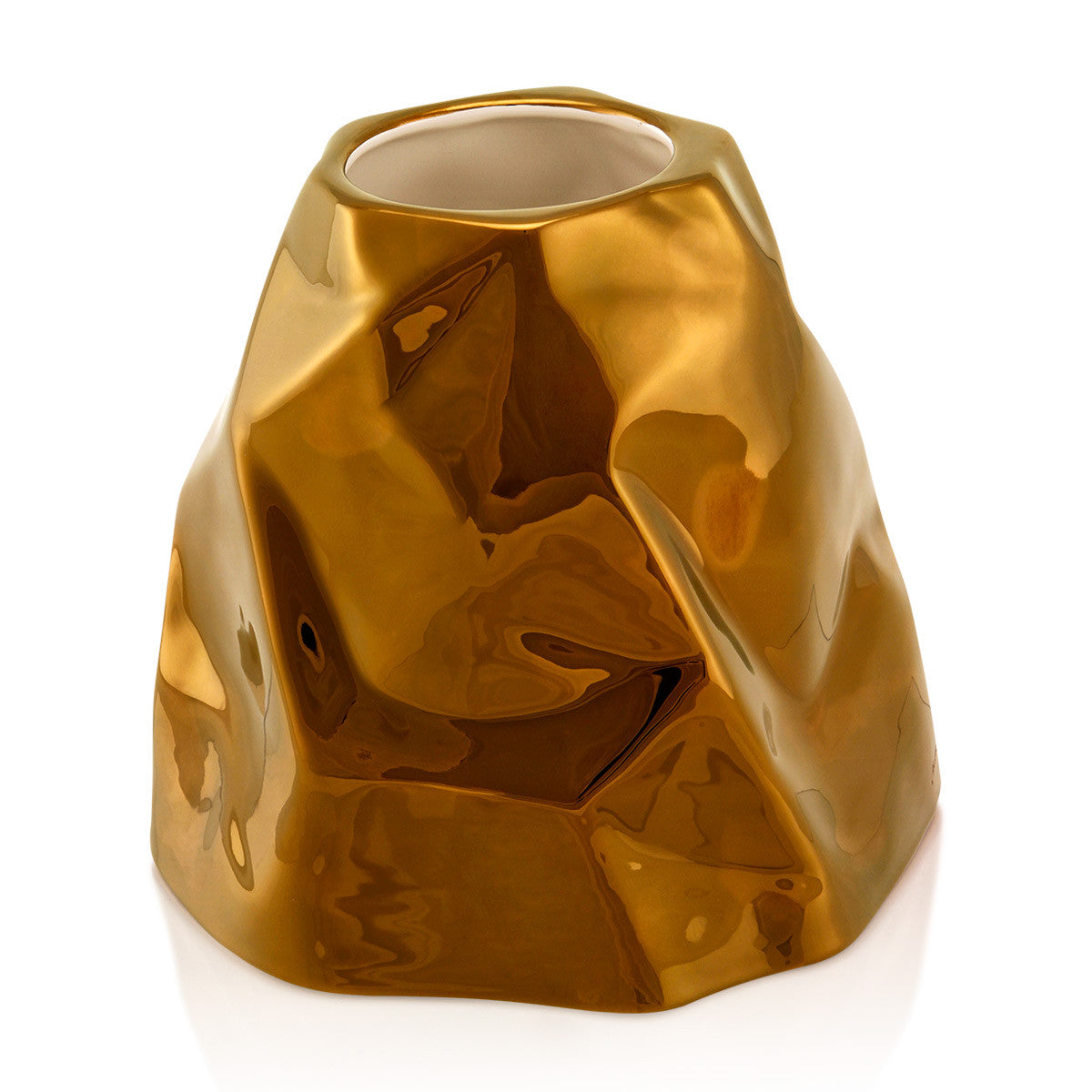 Ceramic large crumpled vase bronze