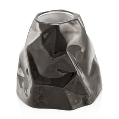 Ceramic large crumpled vase platinum