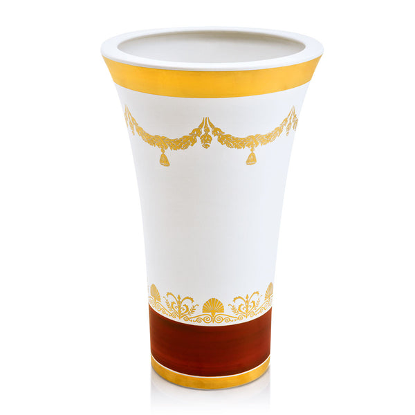 ceramic porcelain classic vase finished in pure gold and red colors with garlands decorations handmade in Italy