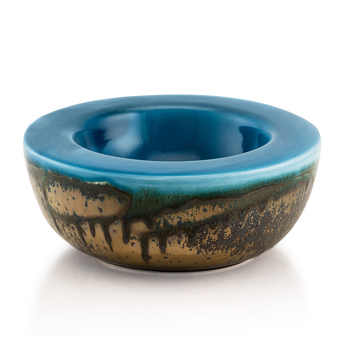 Ceramic bowls-modern bowl-deep blue-burnished bronze-reactive glaze
