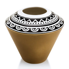 Ceramic small vase with tribal decoration black and brown
