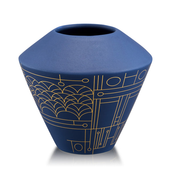 Ceramic small vase with geometric design