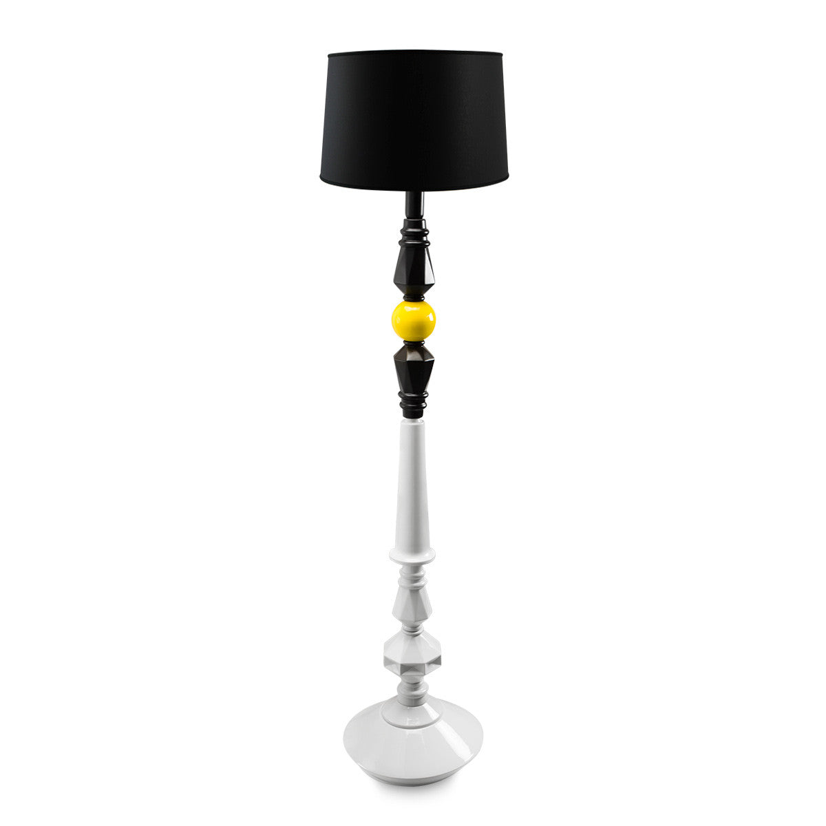 Mid century modern floor lamp finish with yellow and black color