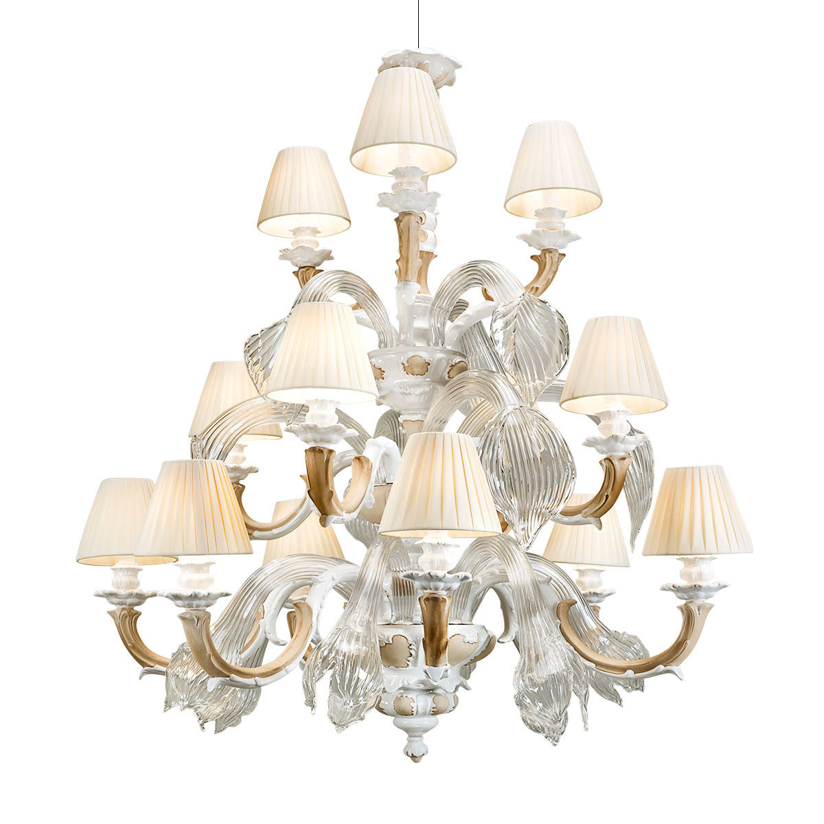 ceramic porcelain Blossom Ducale chandelier with glass leafs
