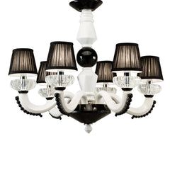 Luxury chandeliers-Entryway chandelier-handmade pottery-Luxury lighting-White and Black