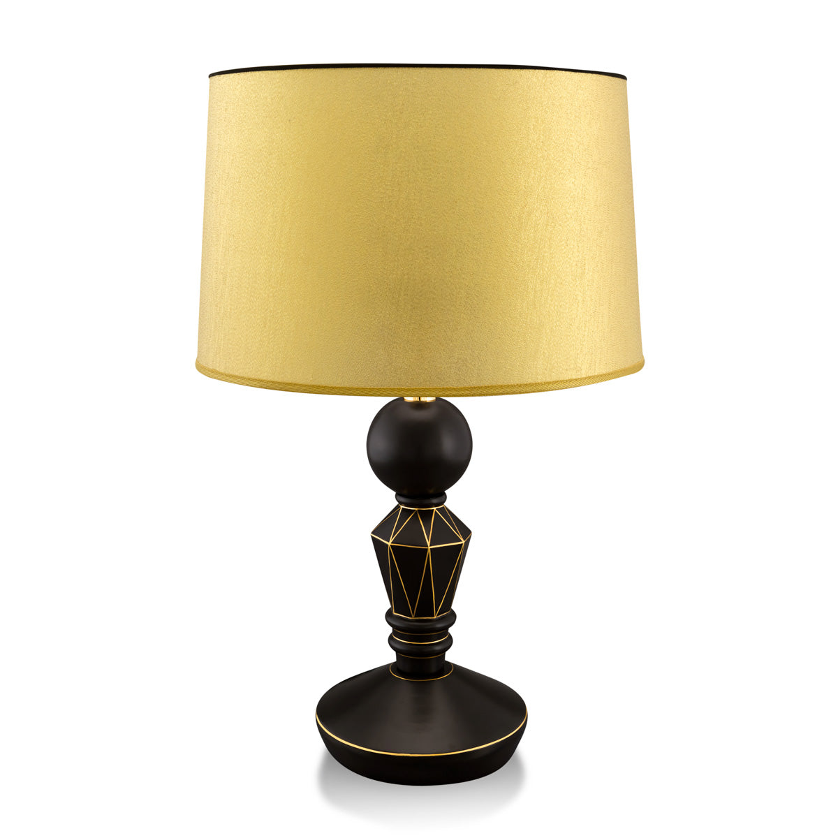 Geometric ceramic table lamp with gold